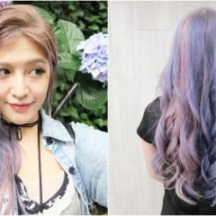 特殊色染髮參考:霧紫色調的淺金X粉紫X藍紫繡球花般的浪漫髮色,漂髮/褪色全記錄