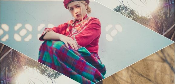 文青穿搭日誌Vol.1 貝蕾帽、漢服與毛呢格子長裙,台灣傳統服飾與歐美風配件混搭的反差萌